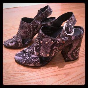 Topshop Snakeskin Block Heels from Nordstrom